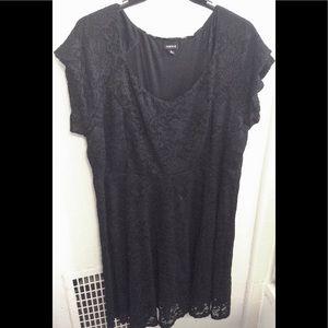 TORRID Plus Size Black and Gold Lace Dress